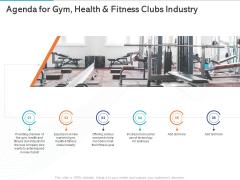 Gym Health And Fitness Market Industry Report Agenda For Gym Health And Fitness Clubs Industry Ppt Slides Smartart PDF