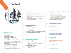 Gym Health And Fitness Market Industry Report Content Elements PDF