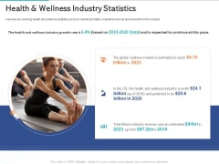 Gym Health And Fitness Market Industry Report Health And Wellness Industry Statistics Icons PDF