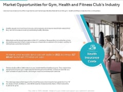 Gym Health And Fitness Market Industry Report Market Opportunities For Gym Health And Fitness Clubs Industry Infographics PDF