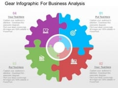 Gear Infographic For Business Analysis PowerPoint Templates