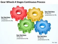 Gear Wheels 4 Stages Continuous Process Ppt Bussiness Plan PowerPoint Templates