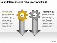Gears Interconnected Process Arrow 2 Steps Business Continuity Plan Sample PowerPoint Slides