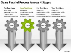 Gears Parallel Process Arrows 4 Stages Business Plan Outline PowerPoint Slides