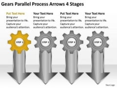 Gears Parallel Process Arrows 4 Stages Business Plan PowerPoint Templates