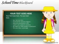 Girl School Time Blackboard PowerPoint Slides And Ppt Diagram Templates
