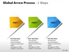 Global Arrow Process 3 Steps Flowchart Examples PowerPoint Templates
