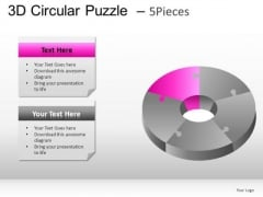 Graphic 3d Circular Puzzle 5 Pieces PowerPoint Slides And Ppt Diagram Templates