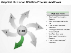 Graphical Illustration Of 6 Data Processes And Flows Circular PowerPoint Slides