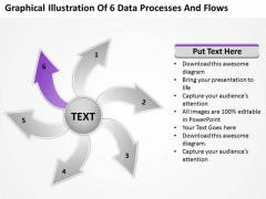 Graphical Illustration Of 6 Data Processes And Flows Gear PowerPoint Templates