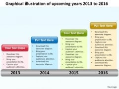 Graphical Illustration Of Upcoming Years 2013 To 2016 PowerPoint Templates Ppt Slides Graphics