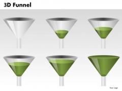Green 3d Funnels PowerPoint Slides