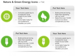 Green Energy Icons For Cfl Plant And Globe Ppt Slides Graphics
