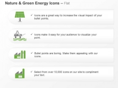 Green Energy Icons For Factory Solar Light Symbols Ppt Slides Graphics