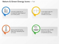 Green Energy Icons With Windmill Towers And Building Ppt Slides Graphics