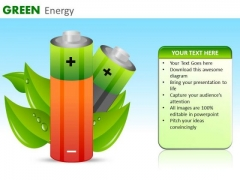 Green Energy Rechargeable Batteries PowerPoint Ppt Templates