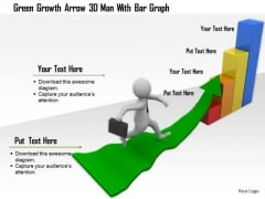 Green Growth Arrow 3d Man With Bar Graph