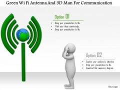 Green Wi Fi Antenna And 3d Man For Communication