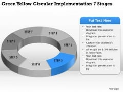 Green Yellow Circular Implementation 7 Stages Business Plan Assistance PowerPoint Slides
