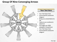 Group Of Nine Coverging Arrows Circular Flow Process PowerPoint Slides