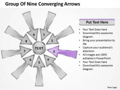 Group Of Nine Coverging Arrows Cycle Process Network PowerPoint Slides
