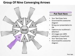 Group Of Nine Coverging Arrows Ppt Cycle Process Network PowerPoint Slide