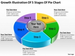 Growth Illustration Of 5 Stages Pie Chart Business Plan Template PowerPoint Templates