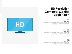 HD Resolution Computer Monitor Vector Icon Ppt PowerPoint Presentation Gallery Smartart PDF