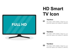 HD Smart TV Icon Ppt PowerPoint Presentation Visual Aids Icon PDF