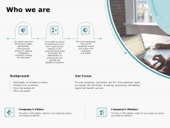 HR Outsourcing Service Proposal Who We Are Ppt Infographic Template Mockup PDF