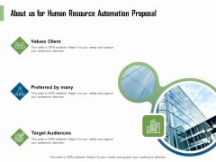 HR Process Automation About Us For Human Resource Automation Proposal Client Mockup PDF