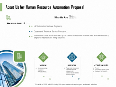 HR Process Automation About Us For Human Resource Automation Proposal Demonstration PDF