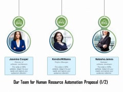 HR Process Automation Our Team For Human Resource Automation Proposal Project Brochure PDF