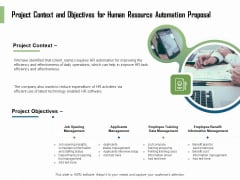 HR Process Automation Project Context And Objectives For Human Resource Automation Proposal Professional PDF