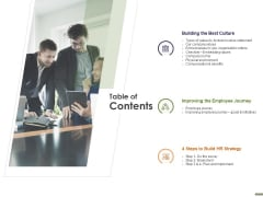 HR Strategy Employee Journey Table Of Contents Ppt Professional Format PDF