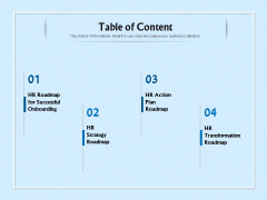 HR Transformation Roadmap Table Of Content Ppt Styles Images PDF