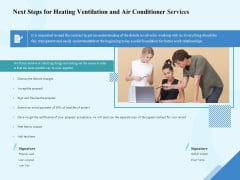 HVAC Next Steps For Heating Ventilation And Air Conditioner Services Ppt Summary Format PDF