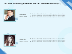 HVAC Our Team For Heating Ventilation And Air Conditioner Services Marketing Diagrams PDF