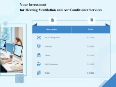 HVAC Your Investment For Heating Ventilation And Air Conditioner Services Designs PDF