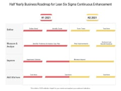Half Yearly Business Roadmap For Lean Six Sigma Continuous Enhancement Portrait