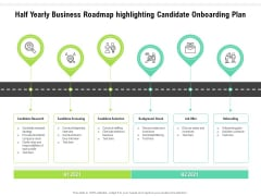 Half Yearly Business Roadmap Highlighting Candidate Onboarding Plan Brochure