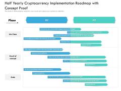 Half Yearly Cryptocurrency Implementation Roadmap With Concept Proof Graphics