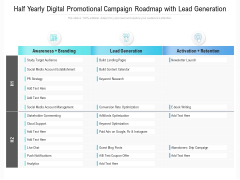 Half Yearly Digital Promotional Campaign Roadmap With Lead Generation Information