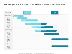 Half Yearly Groundwork Project Roadmap With Preparation And Construction Themes