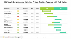 Half Yearly Instantaneous Marketing Project Tracking Roadmap With Task Status Sample