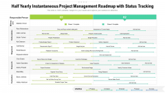 Half Yearly Instantaneous Project Management Roadmap With Status Tracking Ideas