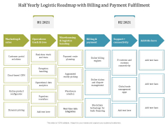 Half Yearly Logistic Roadmap With Billing And Payment Fulfillment Template