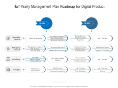 Half Yearly Management Plan Roadmap For Digital Product Slides