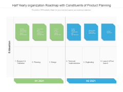 Half Yearly Organization Roadmap With Constituents Of Product Planning Graphics