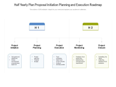 Half Yearly Plan Proposal Initiation Planning And Execution Roadmap Icons
